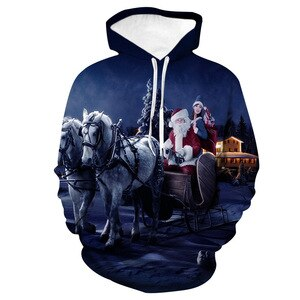 Unisex Christmas Santa Claus 3D Digital Print Loose Hooded Sweater Pullover Women Men Xmas New Year Baseball Sweatshirt Hoodie