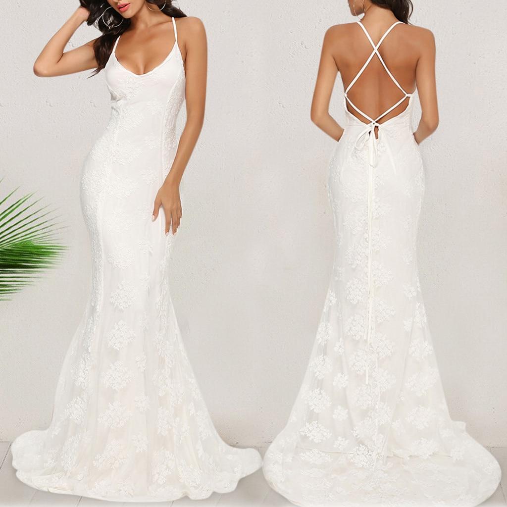 Vestido de las mujeres vestido largo платье Sexy Showback Sexy Slim blanco V profunda sin mangas sin cuello vestido de fiesta al por mayor envío gratis Z4