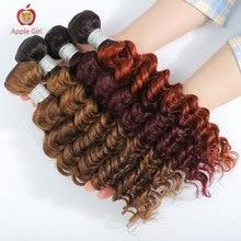 Colored 30 Inch Deep Wave Human Hair Bundles 1/3/4 Bundles Remy Brazilian Deep Wave Bundles Applegirl Hair Weave or Weft