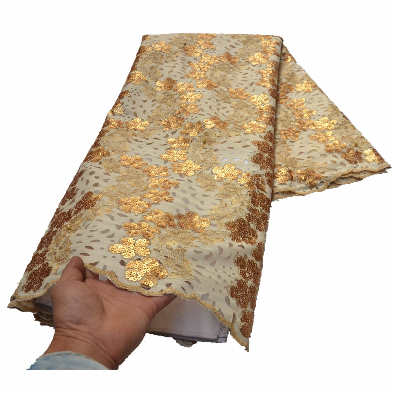 الأورجانزا أقمشة الدانتيل مع الترتر الذهب الدانتيل النسيج 5 ياردة الدانتيل الأفريقي التطريز للنساء اللباس