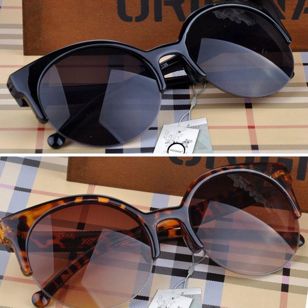 Cat Eye Sunglasses Women Vintage Semi-Rimless Sun Glasses Inspired Round Circle Eyewear UV Protectio