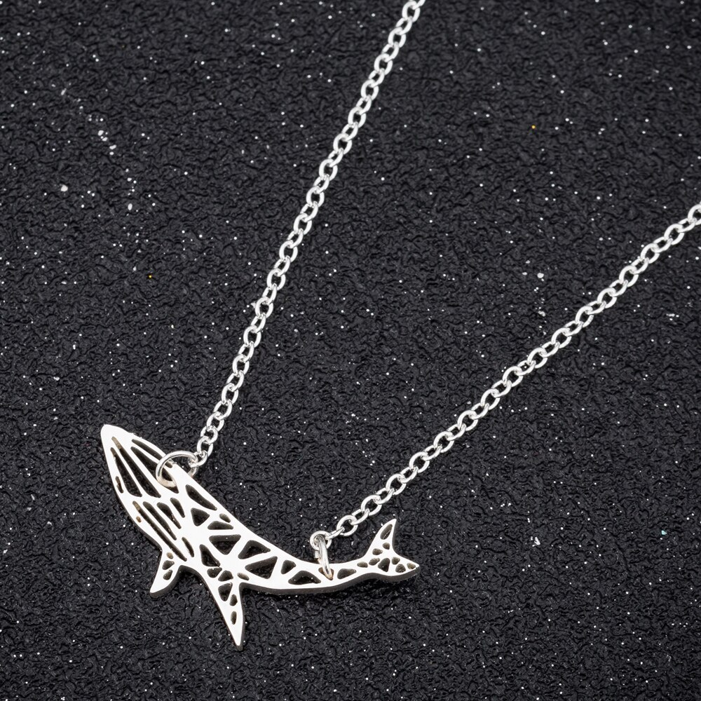 Hfarich délicat océan Animal bleu baleine colliers pendentifs en acier inoxydable Punk chaîne collier ras du cou colliers Collares en gros