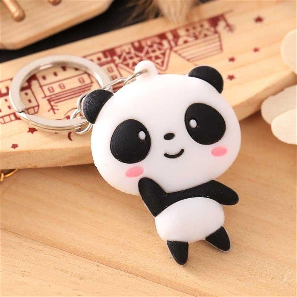 Lindo Kawaii dibujos animados Panda llavero creativo de silicona llavero cadena niñas bolso colgante adornos accesorios regalo