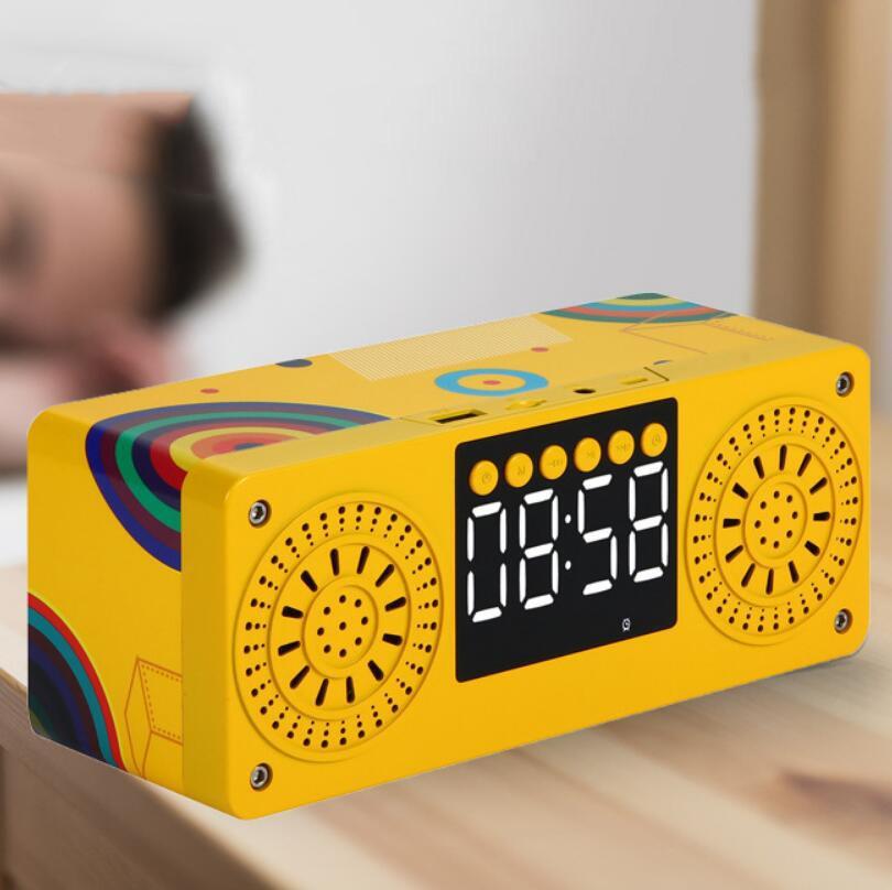 Wood Texture Bluetooth Wireless Audio Bass Alarm Clock Outdoor Portable TF Card High-Quality Waterproof Creative FM Speaker enlarge