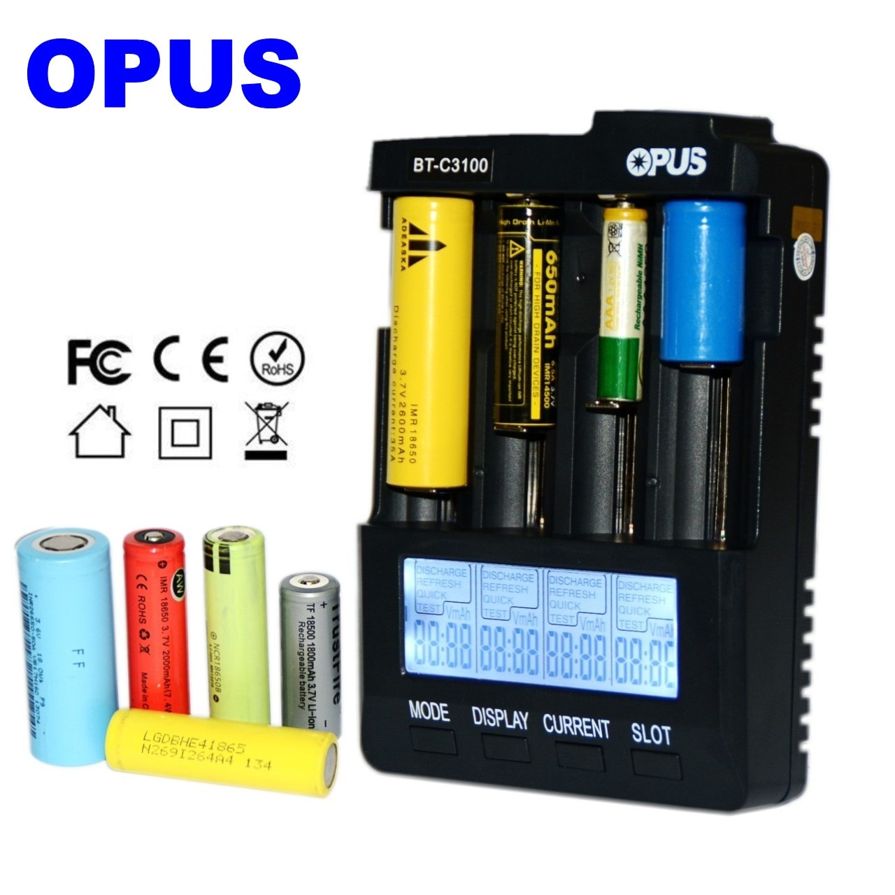 OPUS BT-C3100 Digital Intelligent 4 Slots LCD Battery Charger For Li-ion NiCd NiMH AA AAA 10440 1865