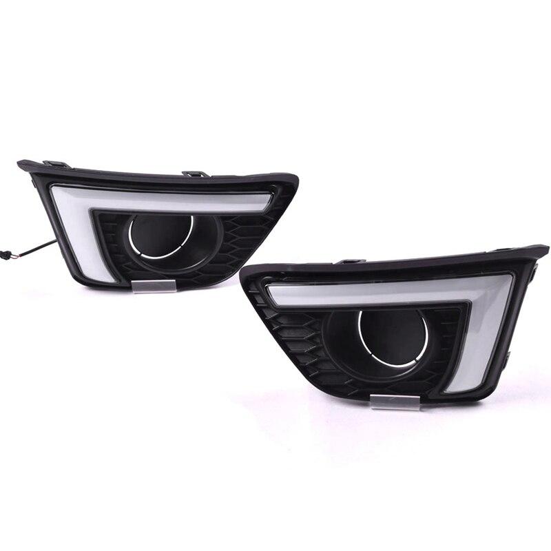 For Honda Jazz Fit 2014 2015 2016 2017 Turn Yellow Signal Relay Waterproof Car DRL 12V LED Daytime Running Light Fog Lamp