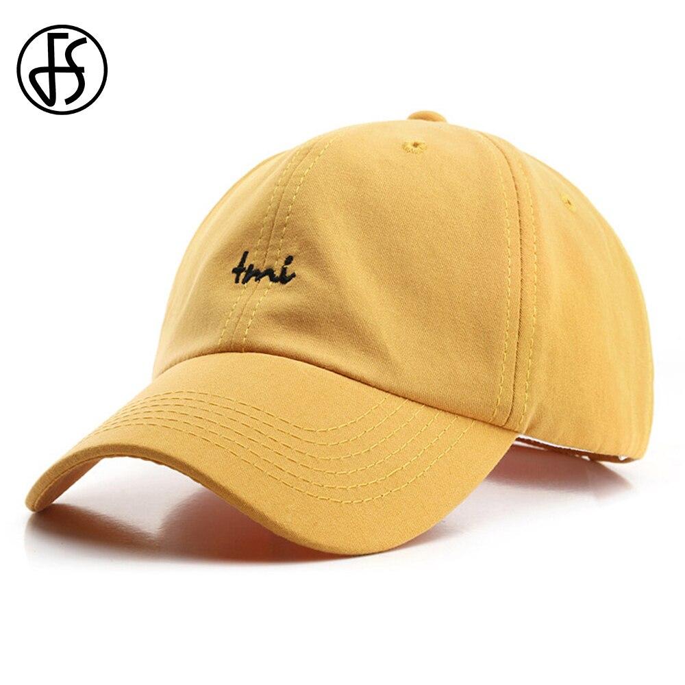 FS Summer Korean Baseball Cap Cotton Letter Embroidery Face Caps For Men Women Snapback Yellow Orange Hip Hop Hats Gorra Hombre