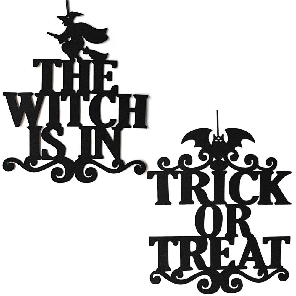 Ведьмы в Хэллоуин висящий знак трюк или лечения двери висит Хэллоуин украшения счастливые Хэллоуин вечерние принадлежности