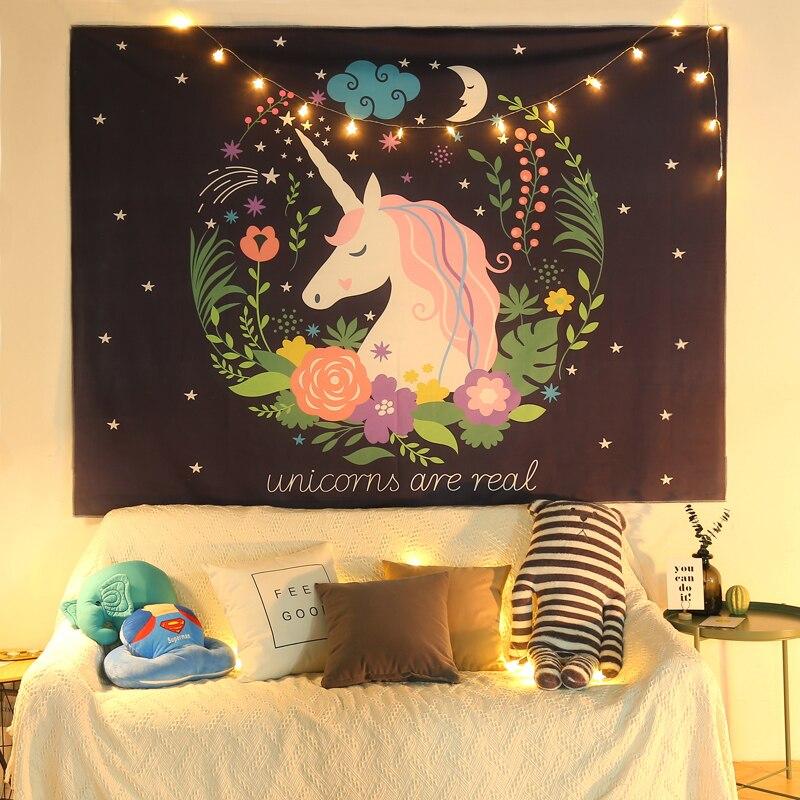Tapiz psicodélico Simple, tapiz estético de Pared para dormitorio, tapiz grande blanco, decoración de árbol de unicornio, Decoración de casa de Pared EB50GT