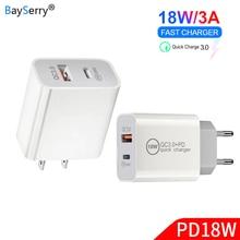 BaySerry 18W 5V 9V 2A 3A USB PD chargeur Type C puissance 2 Ports voyage mur chargeur rapide FCP pour Huawei iPhone 6 6s SE 7 7 plus 8