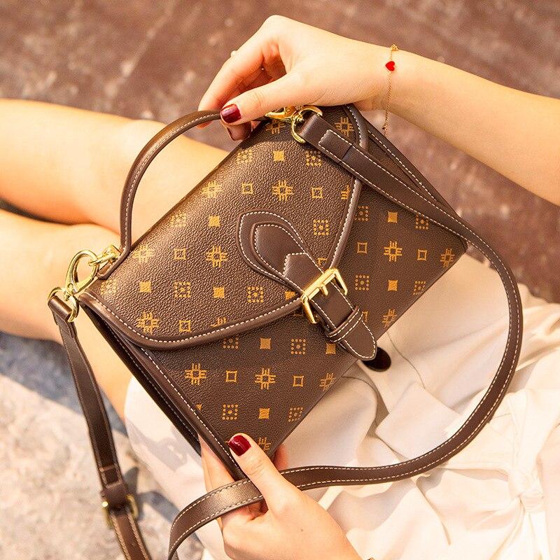 العلامة التجارية الفاخرة هندسية يطبع حقائب كتف واحدة للنساء جلد طبيعي المحافظ وحقائب اليد Carteras Mujer دي هومبرو Y Bolsos