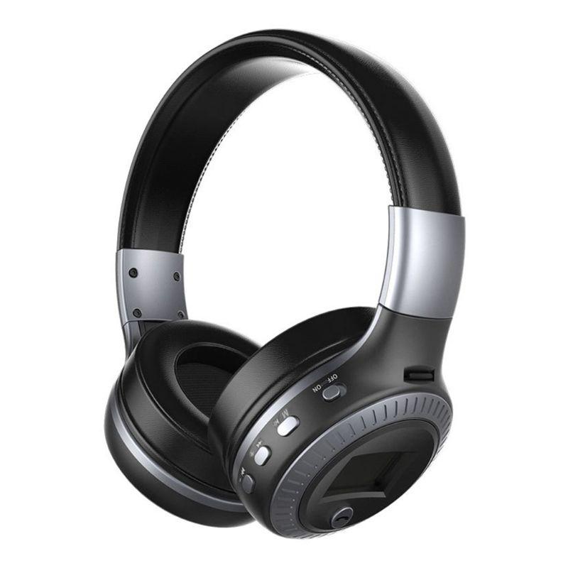 B19 fone de ouvido display lcd música sem fio fone estéreo bt 5.0 tf mic rádio fm x6ha