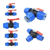 2025324050mm plastic water pipe quick valve pe tube 3 way fast connection pvc ball valves accessories 1pcs