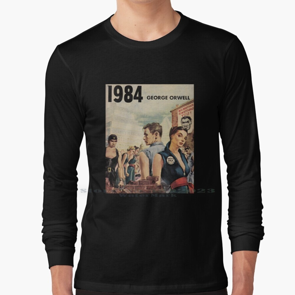 1984-george orwell manga longa t camisa 100% puro algodão tamanho grande 1984 george orwell ingsoc