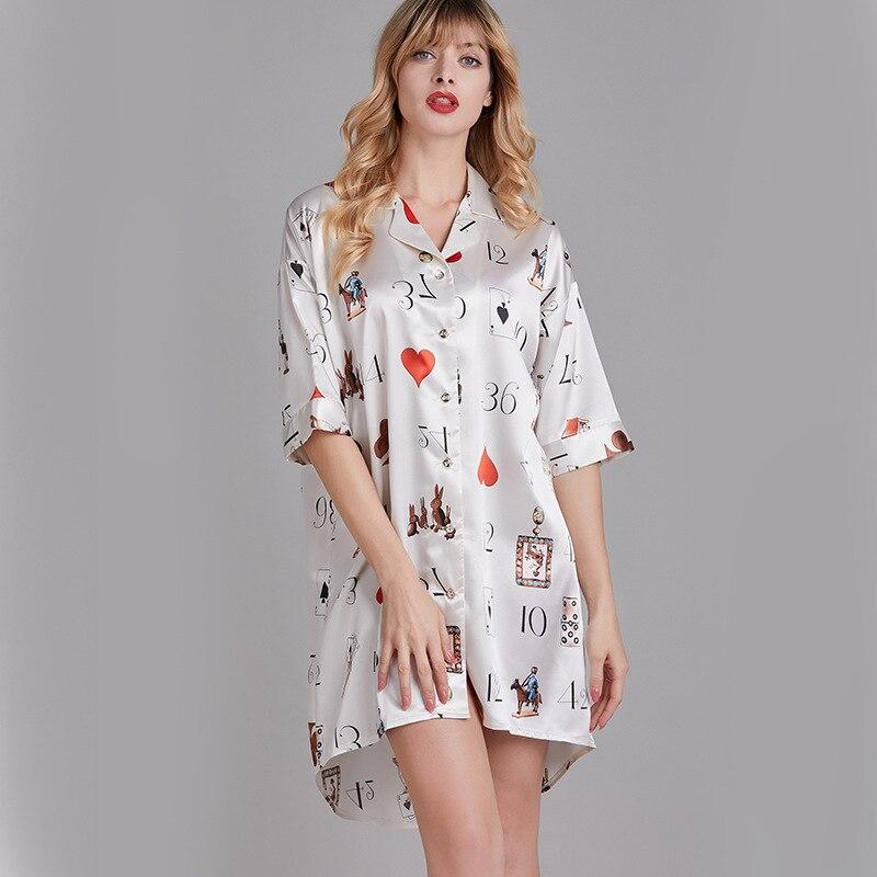 ثوب نوم حريري صيفي بأكمام متوسطة ، قميص نسائي صيفي ، ياقة ، ملابس منزلية فضفاضة ، طباعة أوراق اللعب