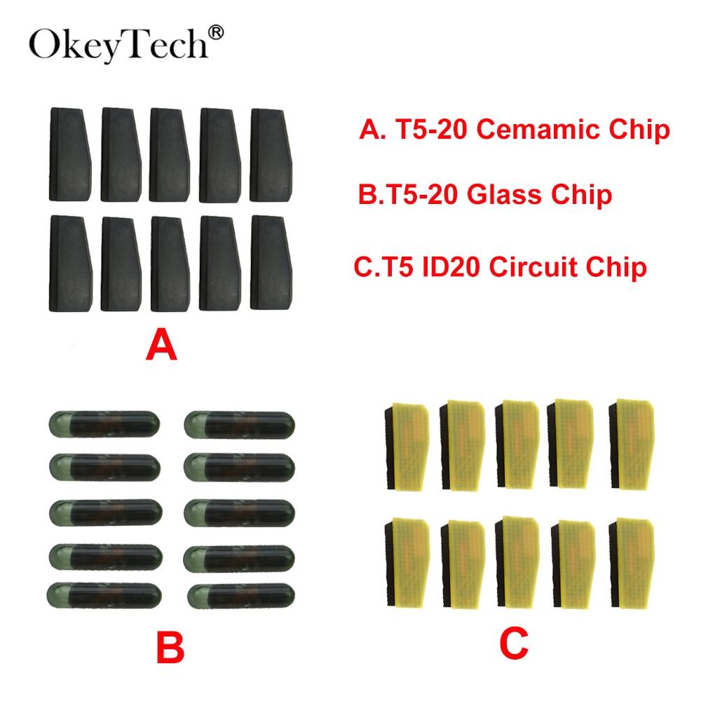 OkeyTech 10 unids/lote nuevo Chip transpondedor ID T5-20 ID20 de carbono en blanco T5 Chip Cloneable para llave de coche Cemamic T5 vidrio cerámica Chip