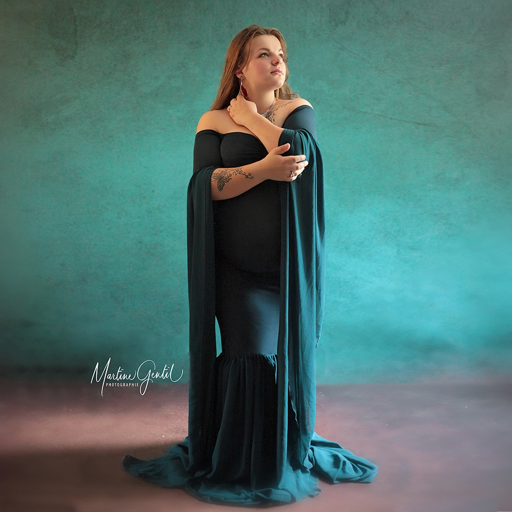 D&J 2019 Fashion Maternity Dress for Photo Shoot Maxi Maternity Gown Extend Long Sleeves Fancy Women Maternity Photography Props enlarge