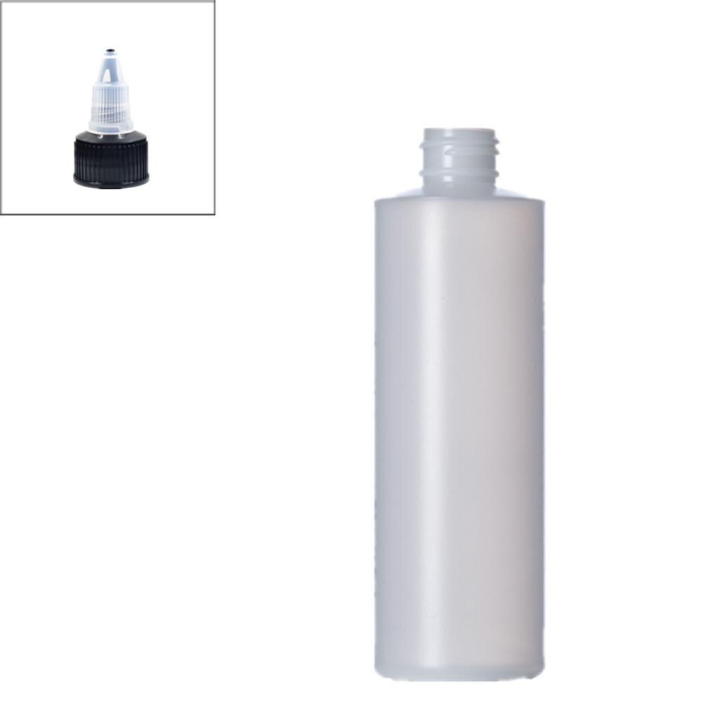 Botella plástica suave vacía de 250ml, cilindro HDPE redondo con tapas superiores de giro negro, tapa superior de boca puntiaguda