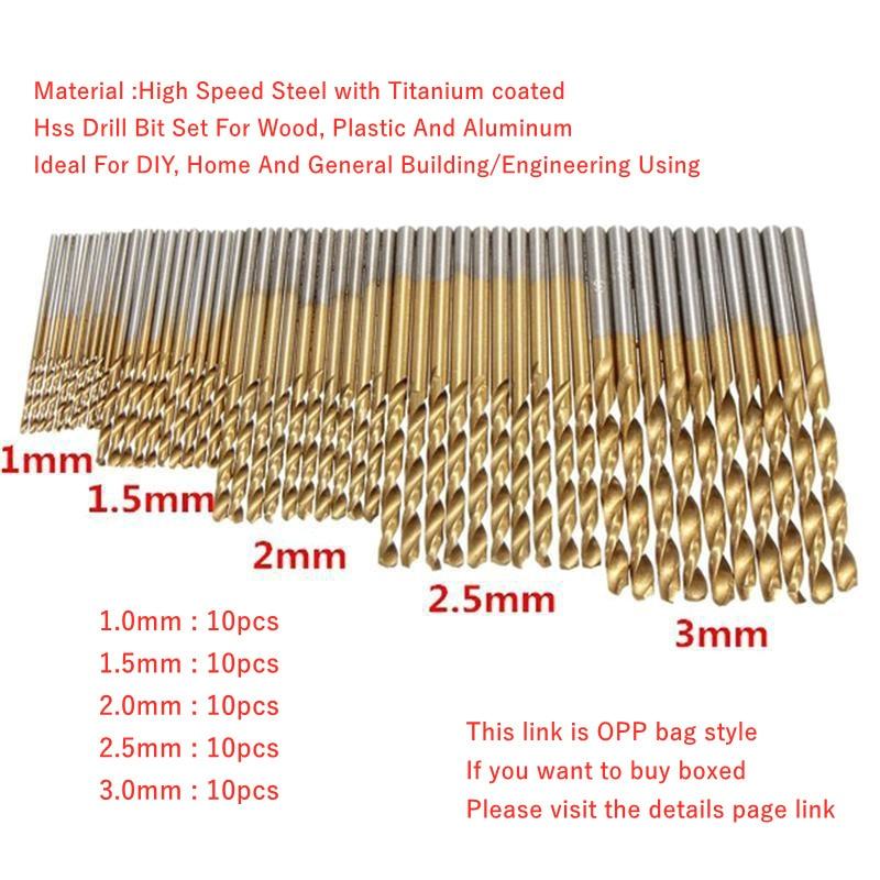 200/100 vnt. 1 / 1,5 / 2,0 / 2,5 / 3 mm titano danga sukamas - Grąžtas - Nuotrauka 3