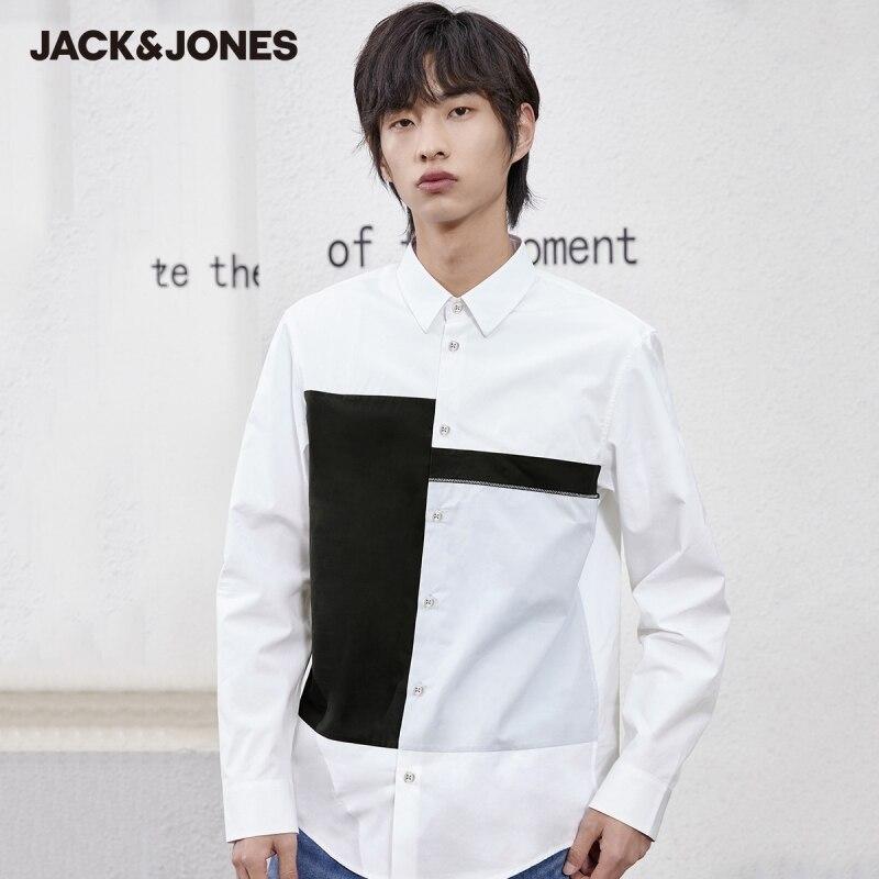 قميص جاكجونز للرجال 100% من القطن المتباين ذو الياقة الانعطاف ذو أكمام طويلة غير رسمية | 221205005