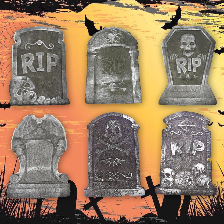 Behogar 6 шт. украшения на Хэллоуин RIP Graveyard легкий пенопластовый надгробный камень для вечерние фото реквизиты дом с привидениями двора Декор
