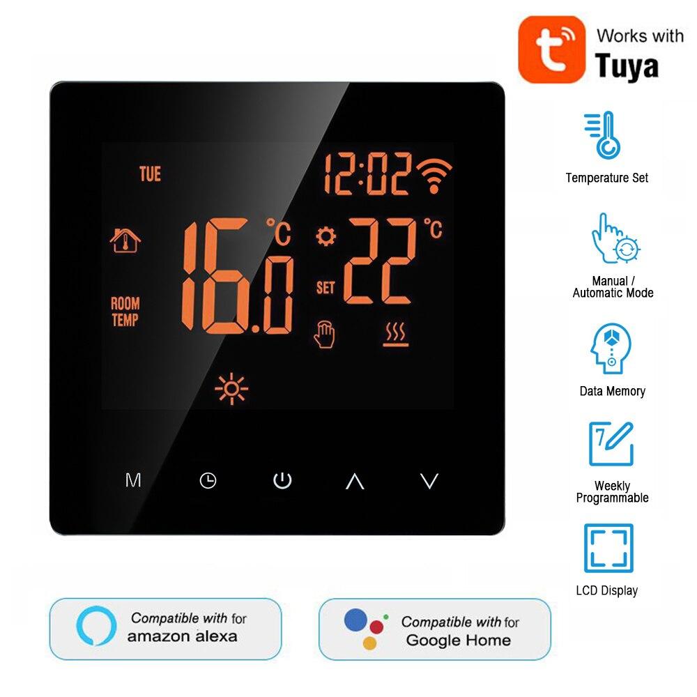 16A Tuya الحياة الذكية واي فاي ترموستات تحكم في درجة الحرارة للكهرباء التدفئة الكلمة يعمل مع أليكسا جوجل الذكية ترموستات