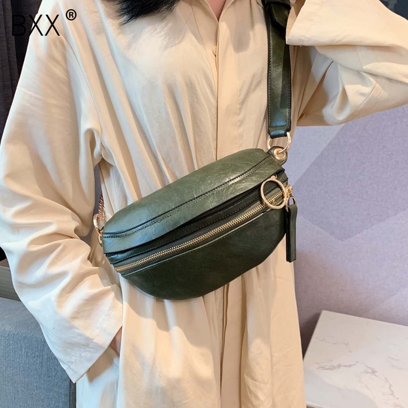 [BXX] Retro Leather Crossbody Bags For Women 2021 Lady Messenger Bag Solid Color Handbags and Purses Chain Chest Bags HI751