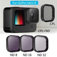 Комплект фильтров для объектива GoPro 9, CPL ND8/16/32, защита объектива 9H, аксессуары для спортивной камеры GoPro Hero 9, черного цвета