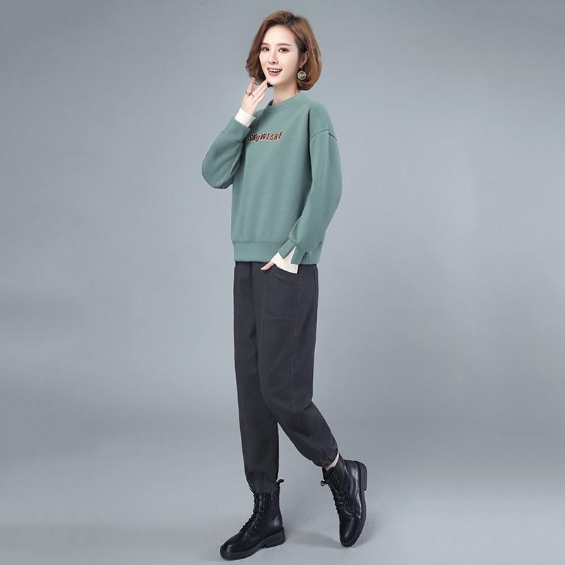 Ensemble pull et pantalon en coton pour femme, tenue décontractée, ample et amincissante, de Style coréen, nouvelle collection automne 2021