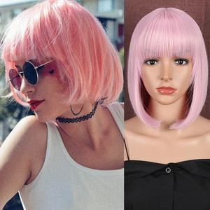Classic Plus Synthetic Short Bob Pink Wigs With Bangs For Women 12 Inch Heat Resistant Cosplay Black Friday Sale 2020 on Hair