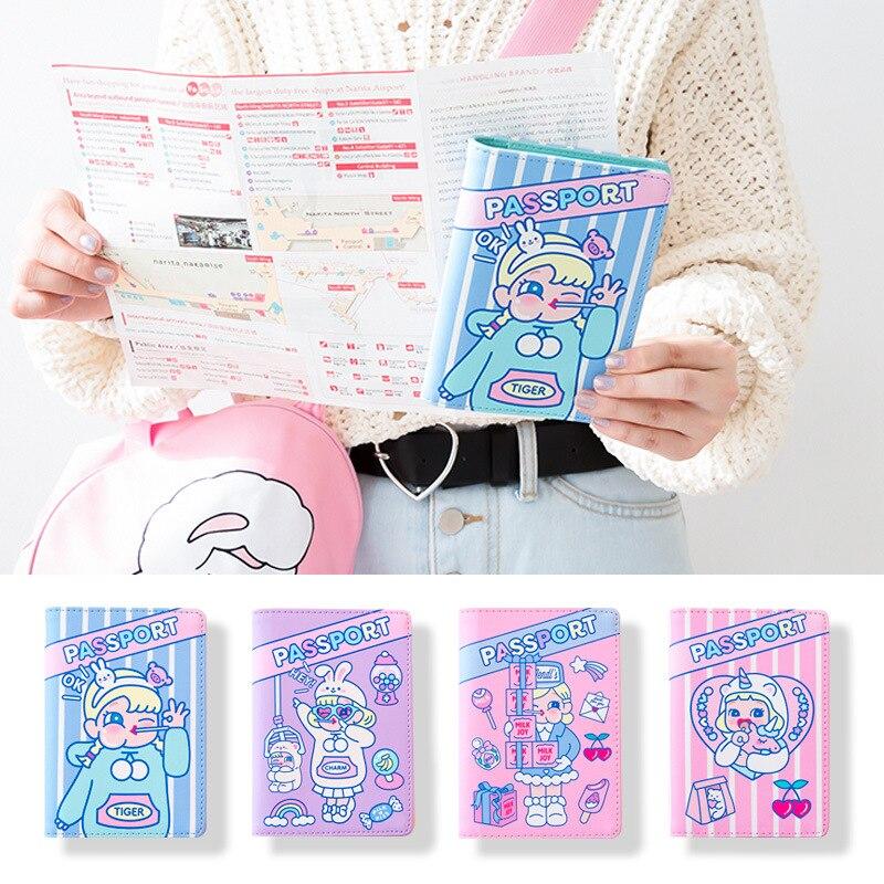 Funda de pasaporte para mujer, accesorios de viaje, Funda de cuero PU para DNI, tarjetero, Cartera de negocios de moda con dibujos para pasaporte para niñas