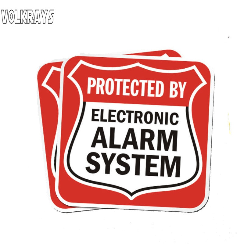 Volkrays 2 pegatinas divertidas para coche sistema de alarma electrónica accesorios de aviso reflectante impermeable protector solar vinilo calcomanía, 11cm * 11cm