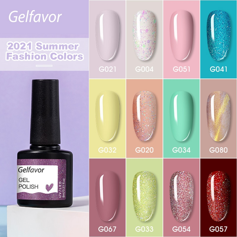 AliExpress - Gelfavor Gel Nail Polish 8ML Glitter Semi-Permanent UV Lamp Top Coat Enamel Varnish Hybrid Gel Polish For Manicure Nails Art