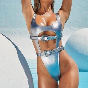 WackDaria sexy women swimsuit siwmwear one piece pu style zipper lock maillot de bian femma купальник swimsuit swimming suit