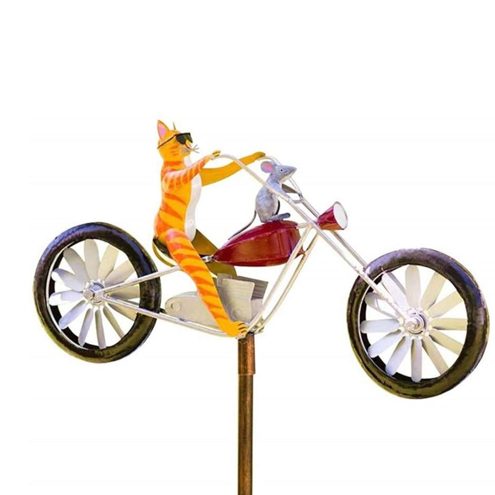 المعادن حصة الحيوان دراجة نارية الضفدع نمط ديكور للحديقة طواحين الهواء دائم ومضحك جديد خمر ريشة الطقس