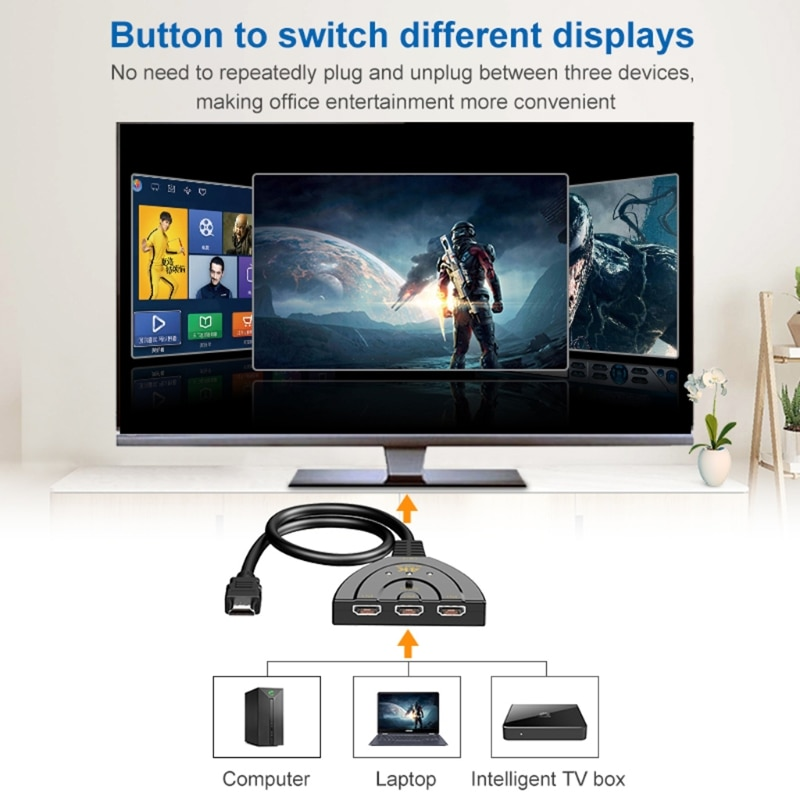 HDMI-compatible Switcher Come with High Speed HDMI-compatible Cable Black