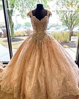 elegant champagne quinceanera dresses appliqued crystal beaded corset sweet 16 prom dress vestidos de 15 a%c3%b1os 2020