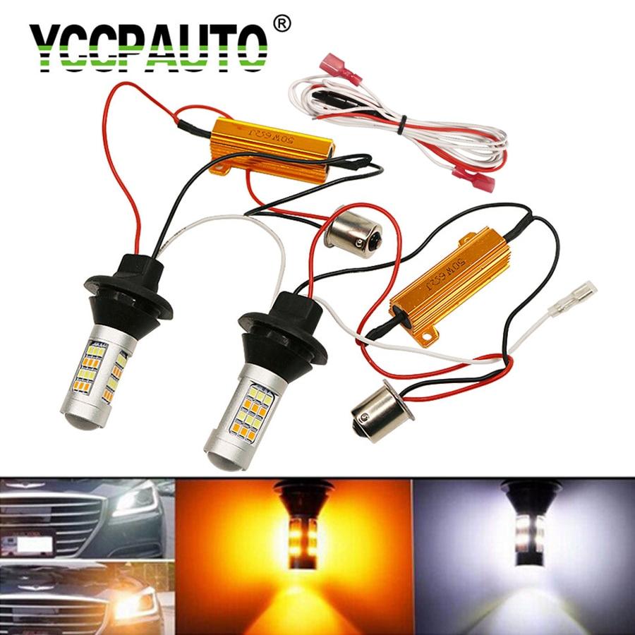 YCCPAUTO 2Pcs T20 W21W P21W PY21W LED Turn Signal Light DRL Canbus No Error 1157 1156 Ba15s Dual Color LED Car light White Amber