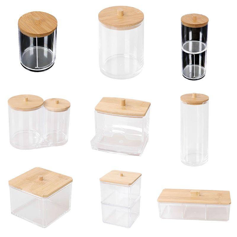 Makeup Cotton Pads Swab Storage Bin Cosmetics Organizer Box with Bamboo Cover