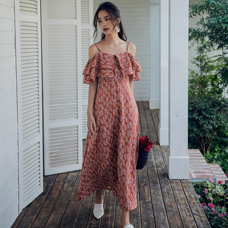 Original film brought sexy ruffled dress a word seaside on condole belt sea show thin waist of the dress