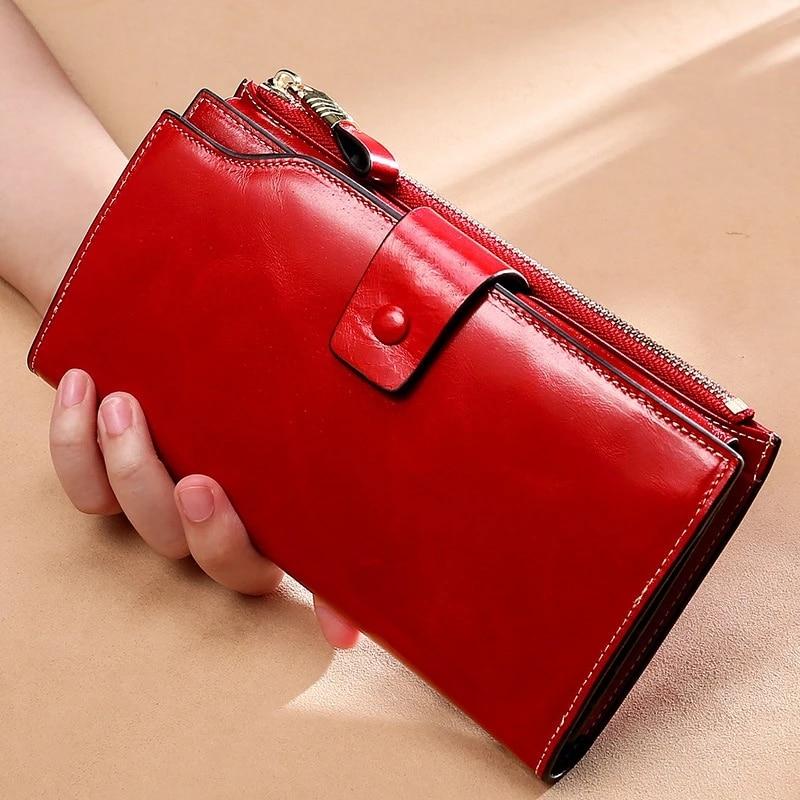 كنغر-محافظ جلدية عتيقة للنساء ، محافظ فاخرة مضادة RFID للنساء ، حقيبة يد طويلة بسحاب ، حامل بطاقات سعة كبيرة