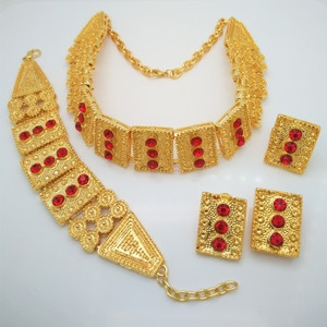 Kingdom Ma Top Dubai Gold Color Jewelry Sets Nigerian Wedding African Rad Crystal Necklace Bracelet Earring Ring Big Jewelry Set
