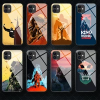 gorilla kings kong tempered glass phone case cover for iphone 5 6 7 8 11 12 s plus xr x xs pro max mini se 2020 black tpu back