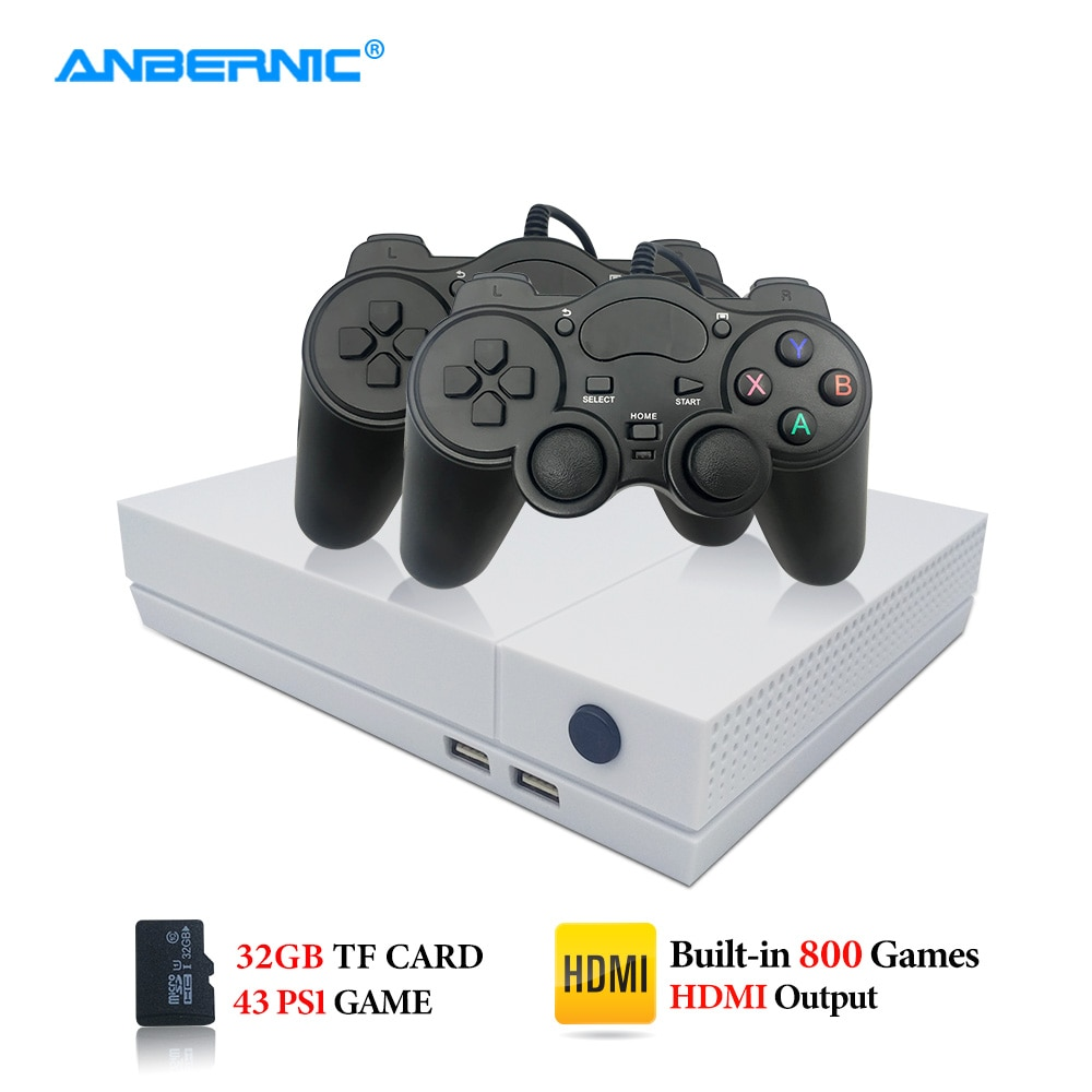 ANBERNIC juego HD PS1 consola de Video juegos 64Bit 4K TV salida HDMI 800 juego 43 PS1 juego 2 Gamepad HDgame Retro juego de Video Player