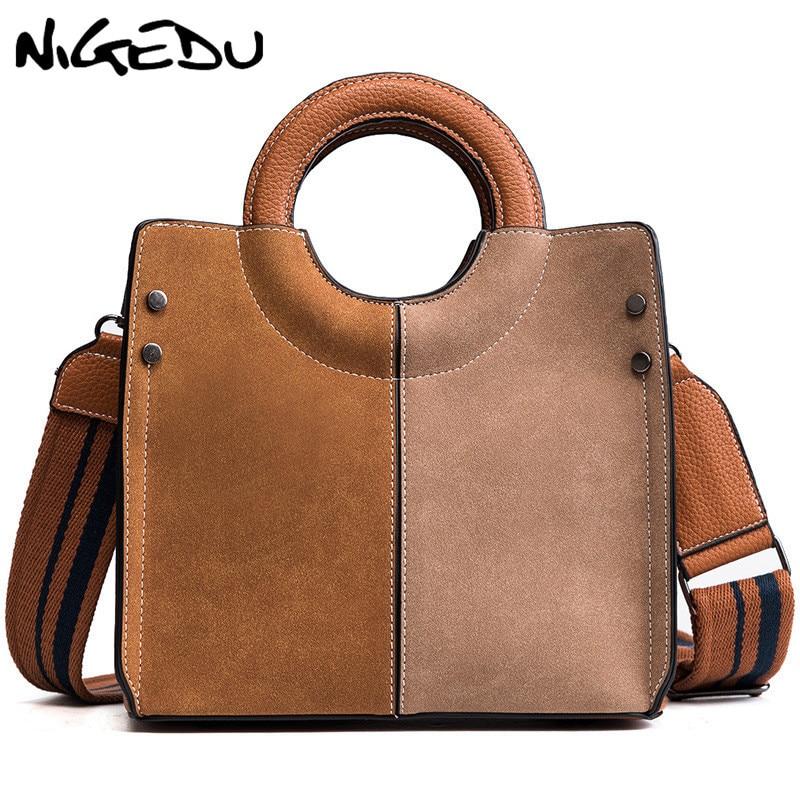 حقيبة يد من الجلد الصناعي بتصميم عتيق للنساء ، حقيبة كتف صغيرة غير لامعة ، حزام عريض ، حقيبة كتف