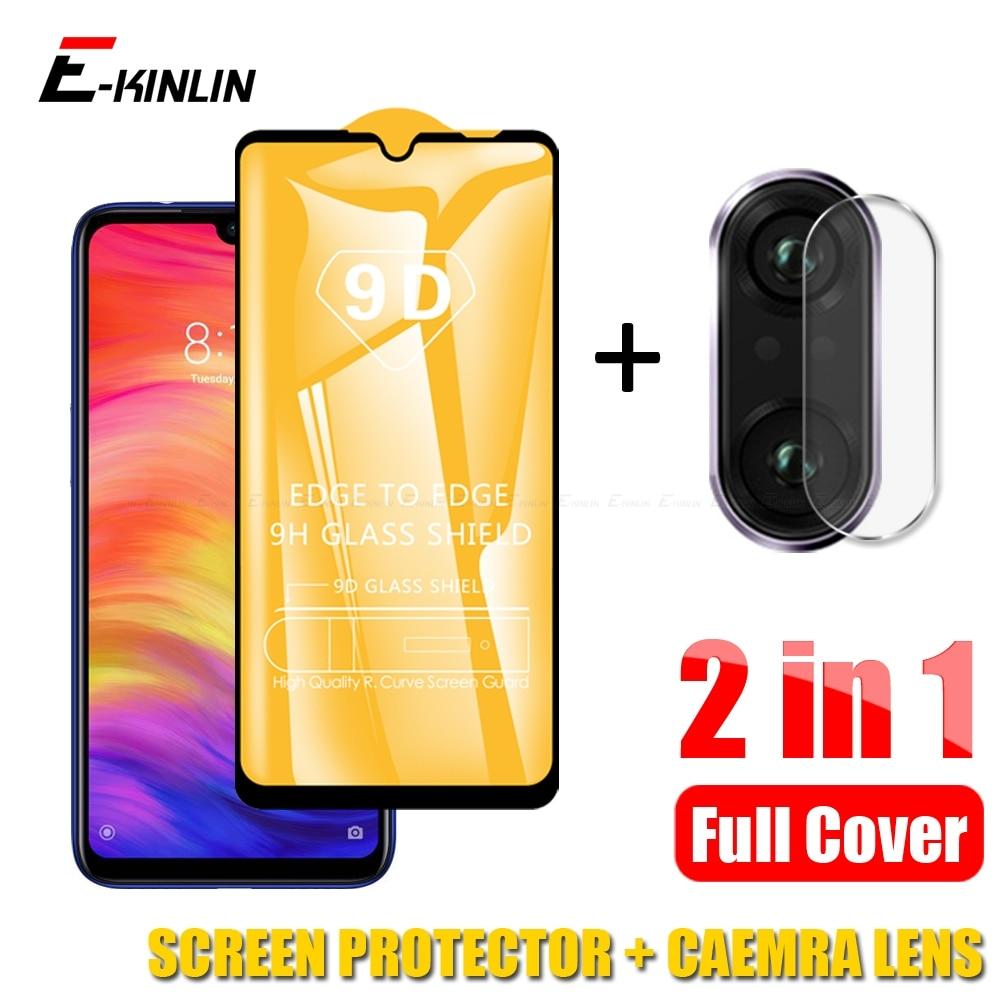 2 in 1 Tempered Glass Screen Protector For Xiaomi Redmi Note 5 6 7 8T 8 Mi 9T 9 Pro 8 Lite A3 Camera Lens Protective Glass Film