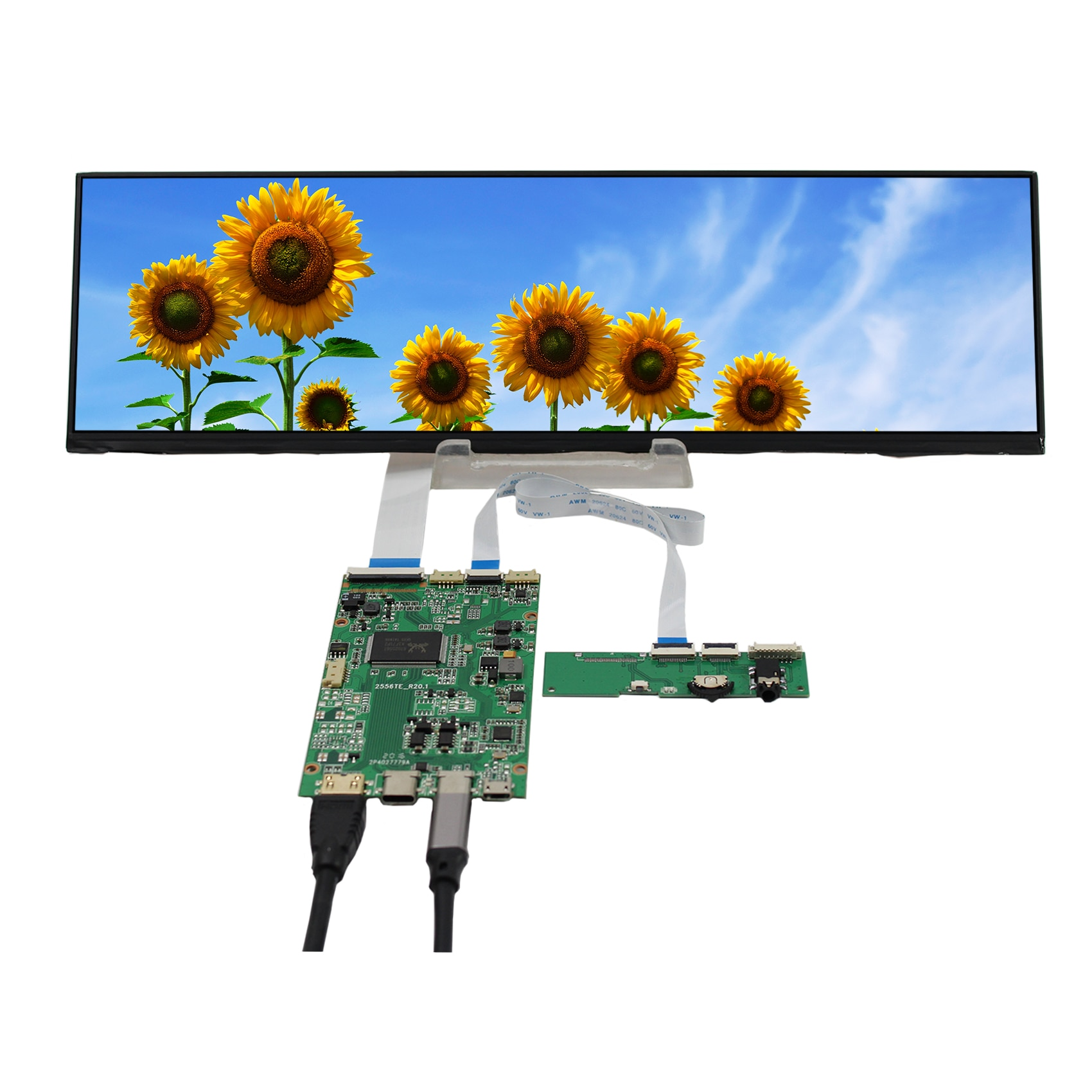 EDP 12.6inch NV126B5M-N41 1920X515 IPS LCD Screen work with HD  MI Board for mall /car/ navigation/ shelves booking system