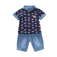 summer fashion baby boys girls clothes set children cotton t shirt short jeans 2pcssets toddler casual clothing kids tracksuits