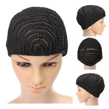 Stretchable Cornrow Braided Wig Cap For Crochet With Elastic Band And Combs Hair Net Black lueless W