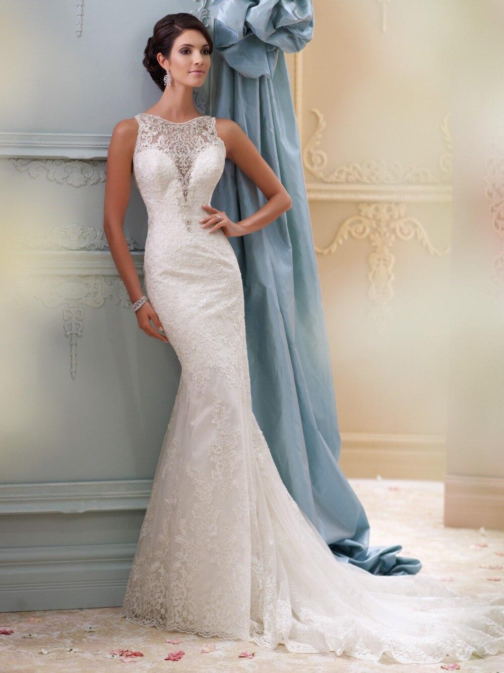 Últimos Apliques de encaje hermoso escote vestido de novia sirena 2018 vestido de novia bata de novia vestidos de novia